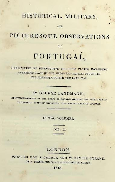 Historical, Military, and Picturesque Observations on Portugal Vol. 2 - Title Page (1818)