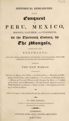 New World - Historical Researches on the Conquest of Peru, Mexico