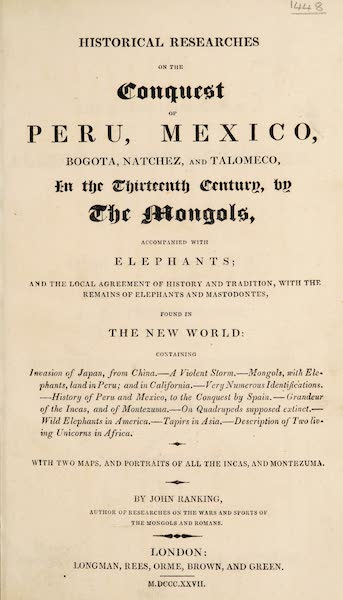 Historical Researches on the Conquest of Peru, Mexico - Title Page (1827)