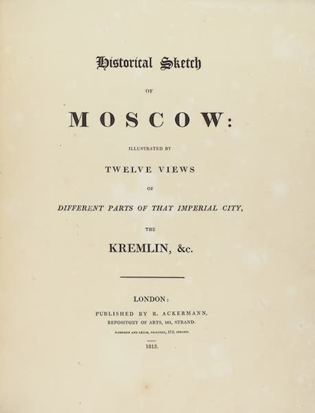 Historical Sketch of Moscow - Title Page (1813)
