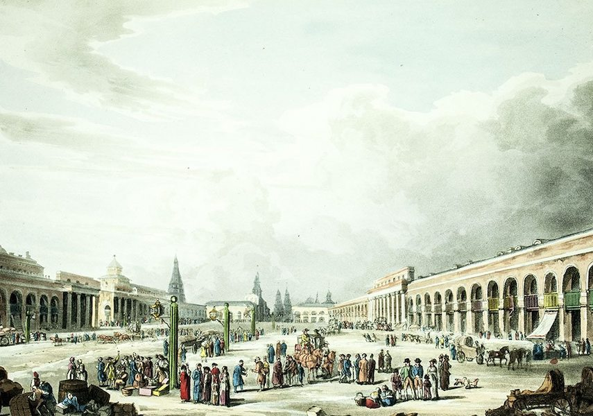 Historical Sketch of Moscow - View of the Great Square, with the shops at Moscow (1813)