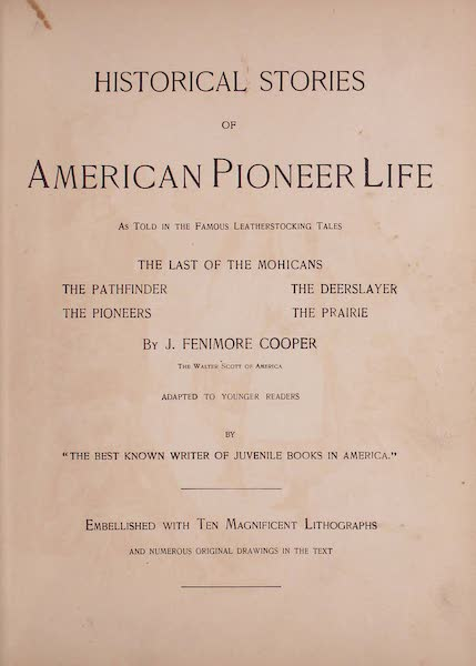 Historical Stories of American Pioneer Life - Title Page (1897)