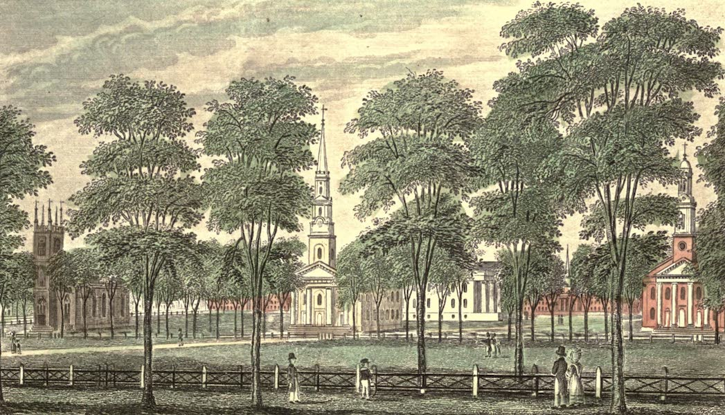 History and Antiquities of New Haven - East View of the Public Square (1831)