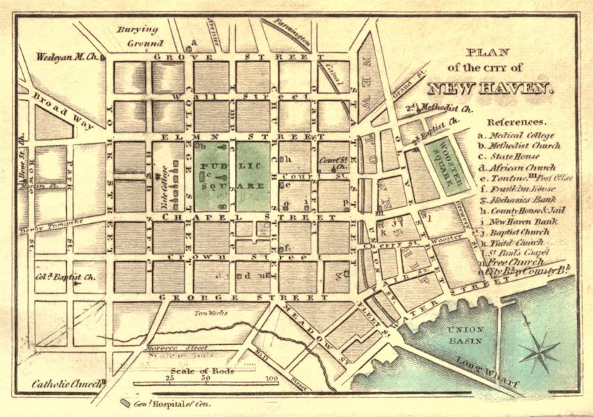 History and Antiquities of New Haven - Plan of the City of New Haven (1831)