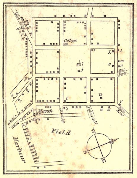 History and Antiquities of New Haven - A Plan of the Town of New Haven taken by Mr. Joseph Brown in the Year 1724 (1831)