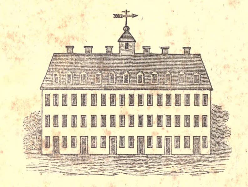 History and Antiquities of New Haven - View of the First College Building - Erected in 1717 (1831)