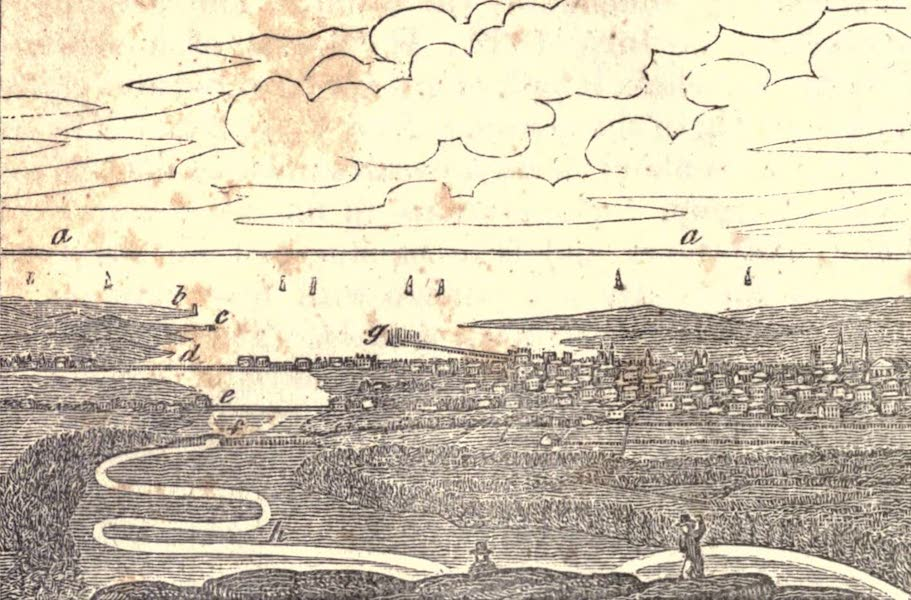 History and Antiquities of New Haven - View from the Top of East Rock (1831)