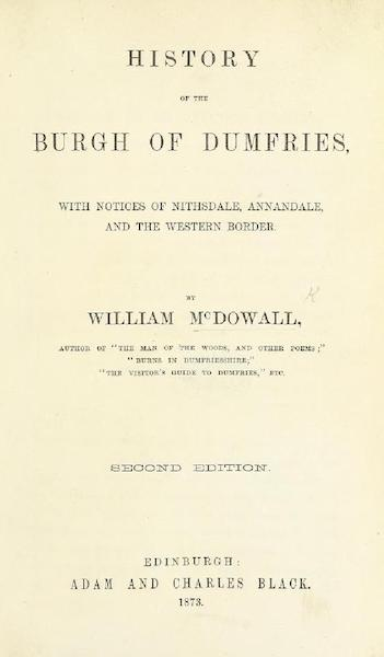 History of the Burgh of Dumfries - Title Page (1873)