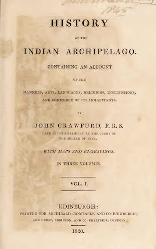Aquatint & Lithography - History of the Indian Archipelago Vol. 1