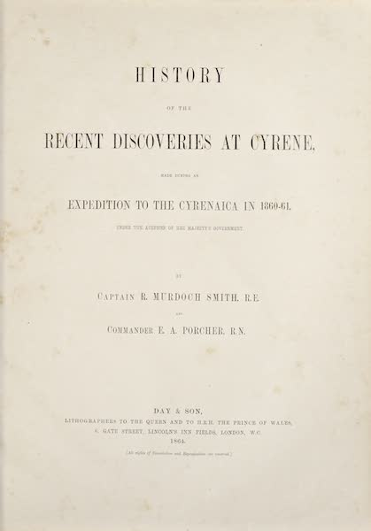 History of the Recent Discoveries at Cyrene - Title Page (1864)