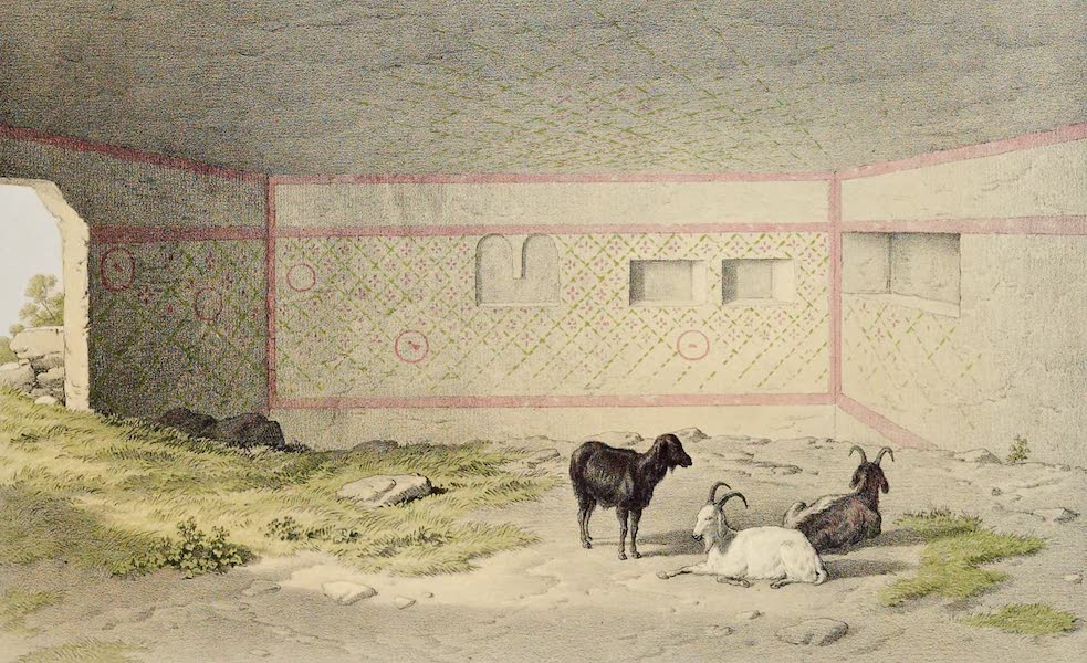 History of the Recent Discoveries at Cyrene - Interior of a Painted Tomb in the Northern Necropolis of Cyrene (1864)