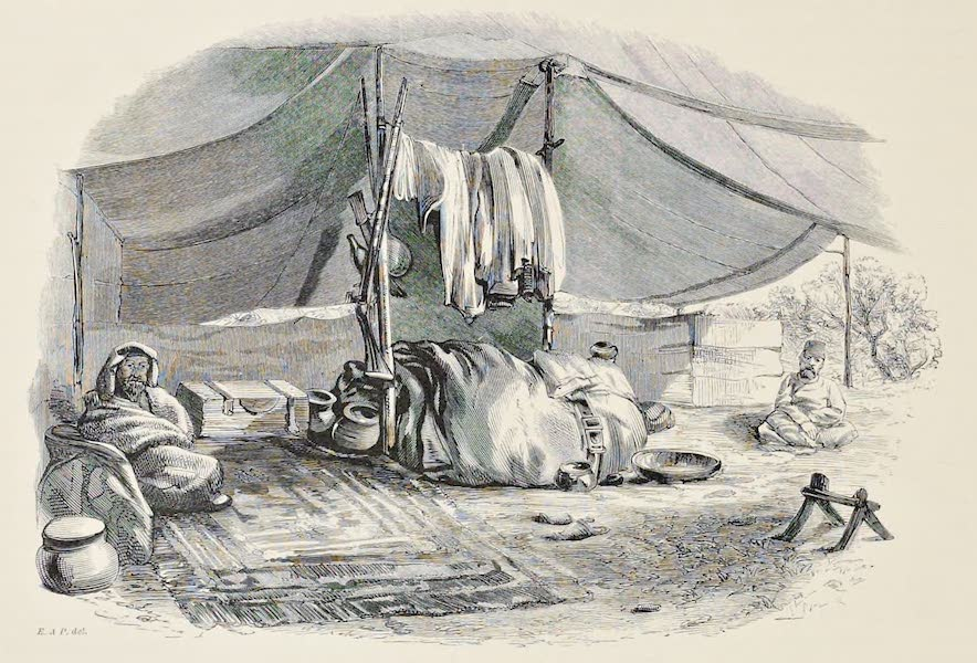 History of the Recent Discoveries at Cyrene - Interior of Mohammed El Douly's Tent (1864)