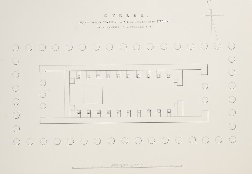 History of the Recent Discoveries at Cyrene - Cyrene - Plan of the Large Temple at the N.E. End of the City near the Stadium (1864)