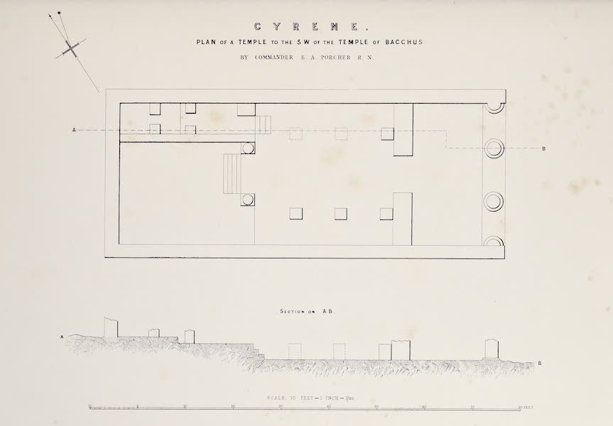 History of the Recent Discoveries at Cyrene - Cyrene - Plan of a Temple to the S.W. of the Temple of Bacchus (1864)
