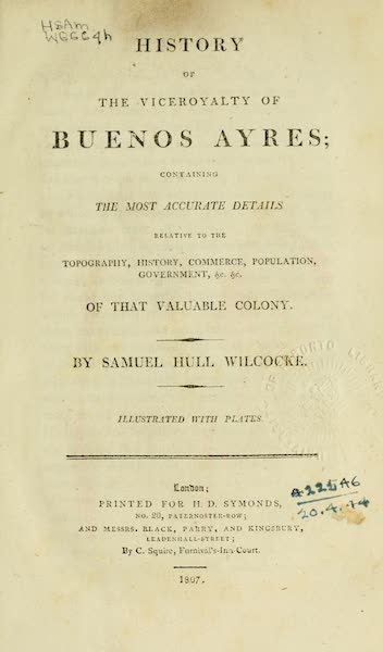 History of the Viceroyalty of Buenos Ayres - Title Page (1807)