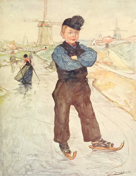 Holland, by Nico Jungman - A Peasant Boy of Veere on Skates (1904)