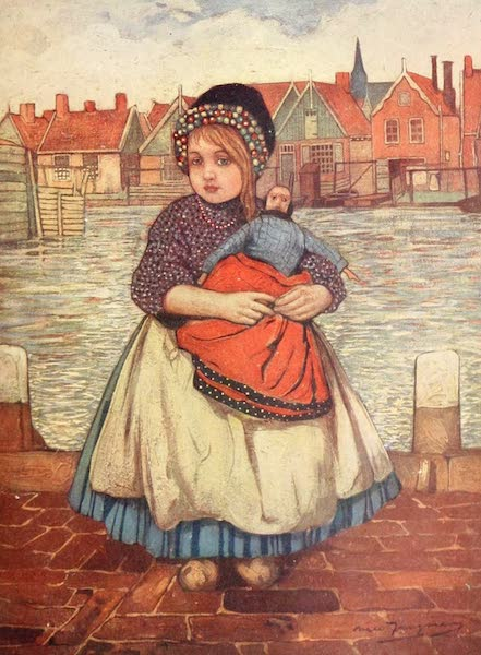 Holland, by Nico Jungman - A Girl with a Doll (1904)