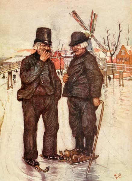 Holland, by Nico Jungman - Old Dutchmen on Skates (1904)