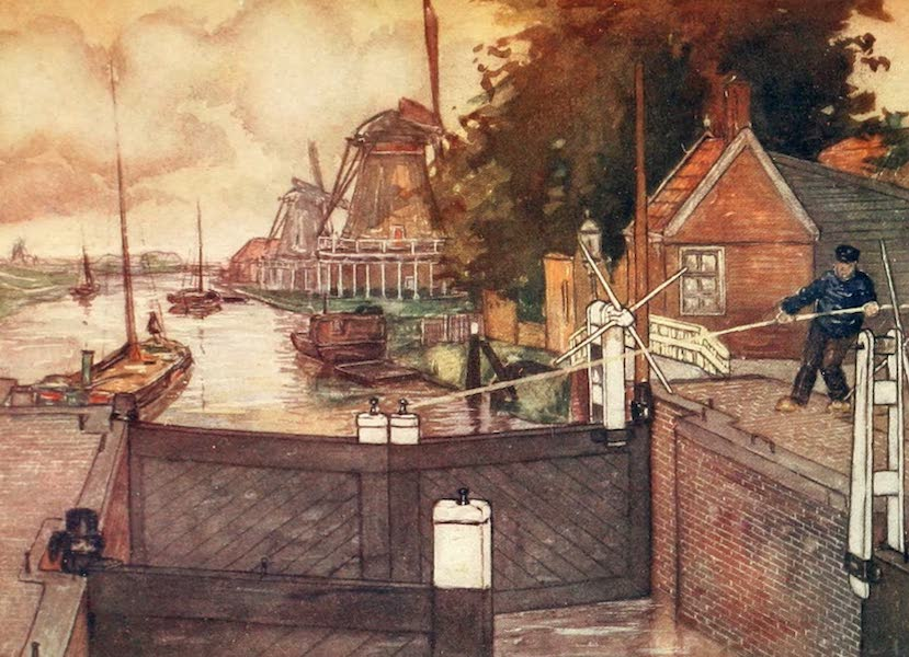Holland, by Nico Jungman - Noordervaldeursluis, Zaandam (1904)