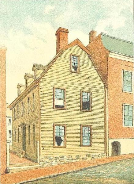 Homes of our Forefathers in Boston - The Galloupe House, Hull St. (1889)