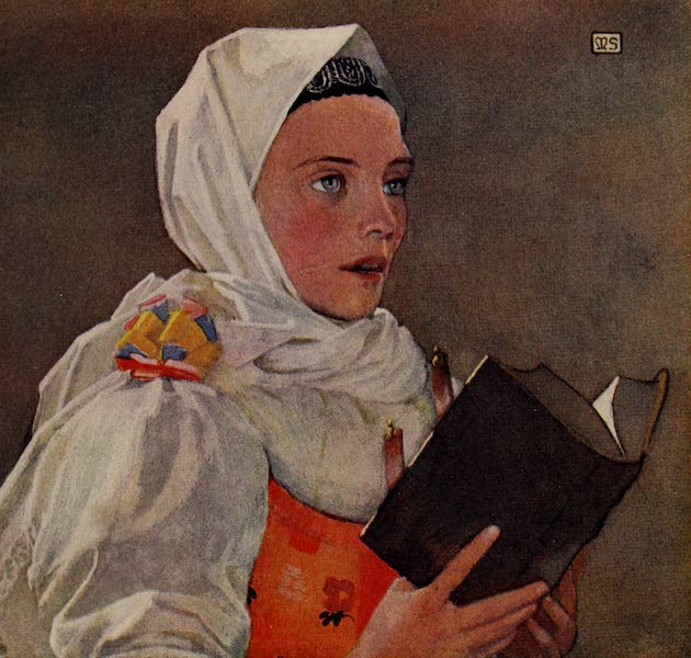 Hungary, Painted and Described - Slovak Woman singing a Hymn (1909)