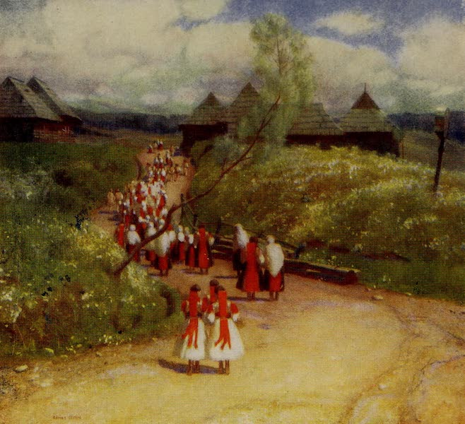 Hungary, Painted and Described - The Return from Church, Zsdjar (1909)