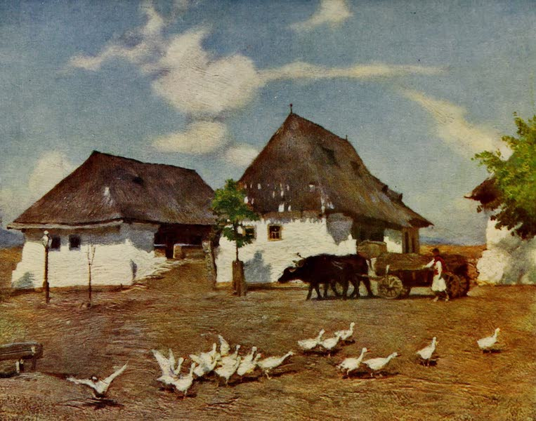 Hungary, Painted and Described - Cottages on the Outskirts of Banffy-Hunyad (1909)
