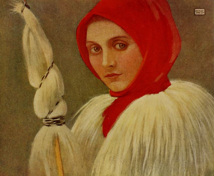 Hungary, Painted and Described - Peasant Woman in her Guba, Kisbanya (1909)