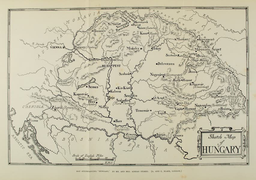Hungary, Painted and Described - Sketch-Map of Hungary (1909)