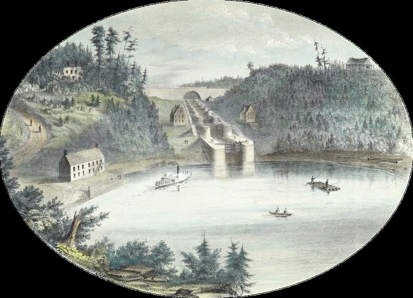 Hunter's Ottawa Scenery - View of Locks Entrance of Rideau Canal, Ottawa City, Canada (1855)