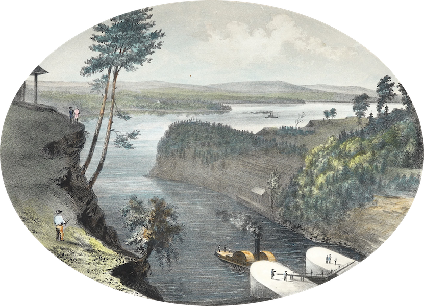 Hunter's Ottawa Scenery - View from Barrack Hill looking down the Ottawa, Ottawa City, Canada (1855)