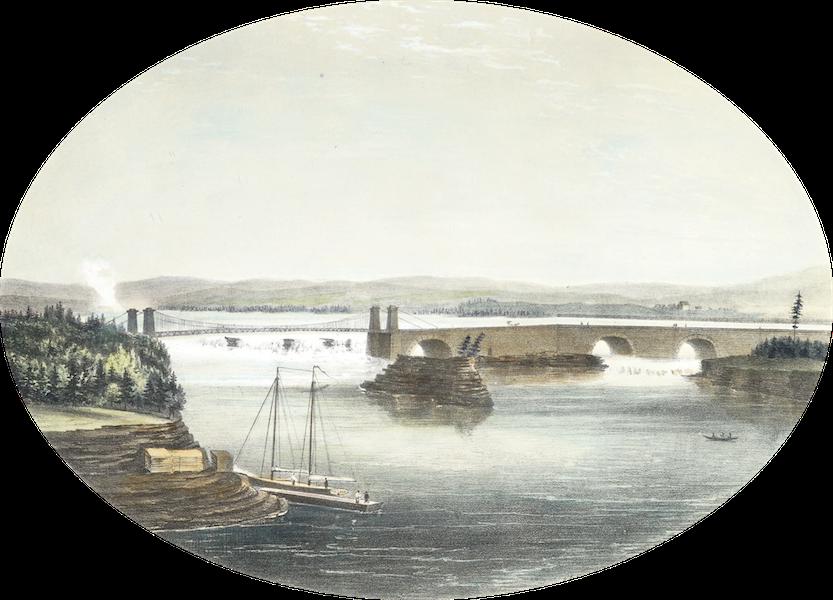 Hunter's Ottawa Scenery - Suspension Bridge over Chaudiere Falls (1855)