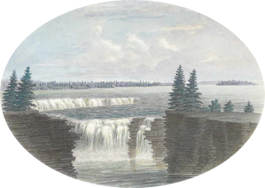 Hunter's Ottawa Scenery - A Portion of Chaudiere Falls from the north Ottawa River, Canada (1855)