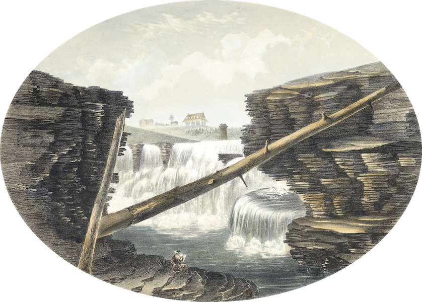 Hunter's Ottawa Scenery - View from the Interior of Chasm, Chaudiere Falls, Ottawa River, Canada (1855)