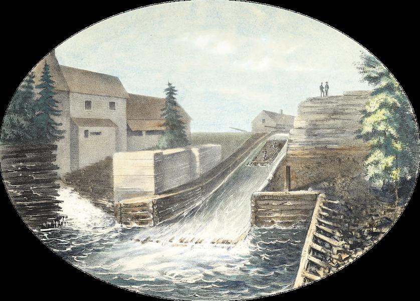 Hunter's Ottawa Scenery - Timber Slide on Hull Side, Ottawa City, Canada (1855)