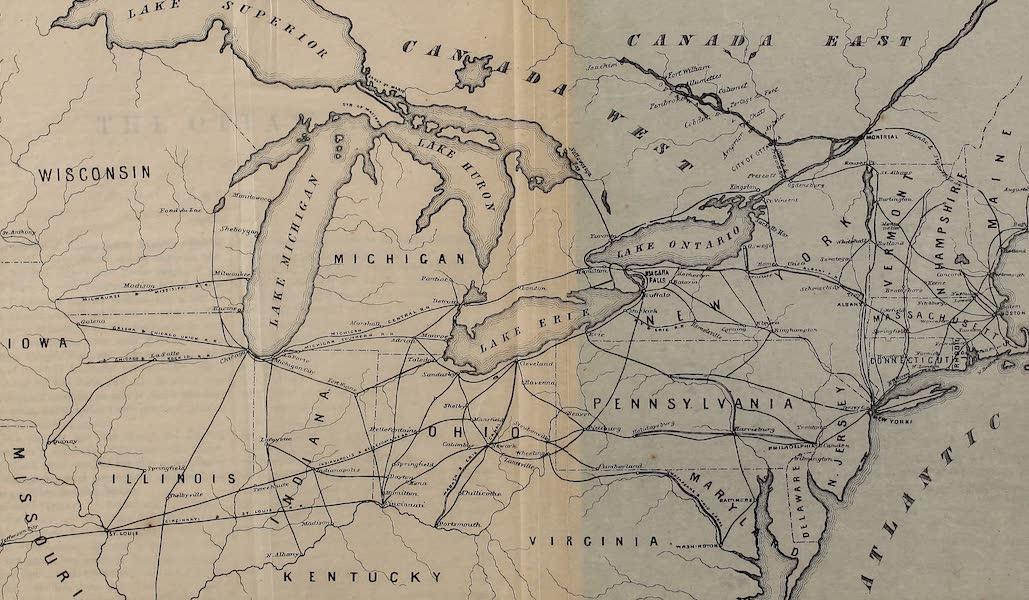 Hunter's Ottawa Scenery - Map of Railroad Routs to the City of Ottawa (1855)