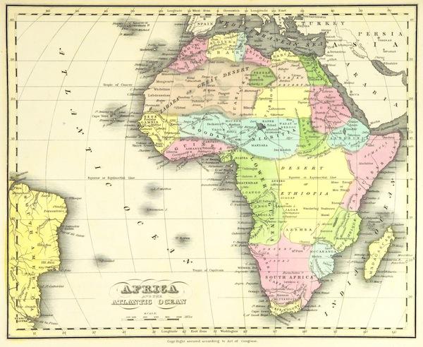 Huntington's School Atlas - Africa and the Atlantic Ocean (1836)