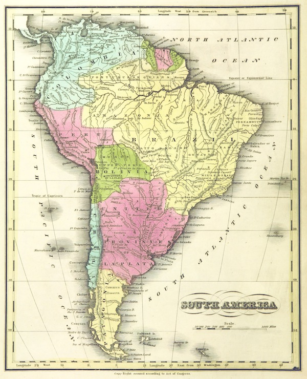 Huntington's School Atlas - South America (1836)
