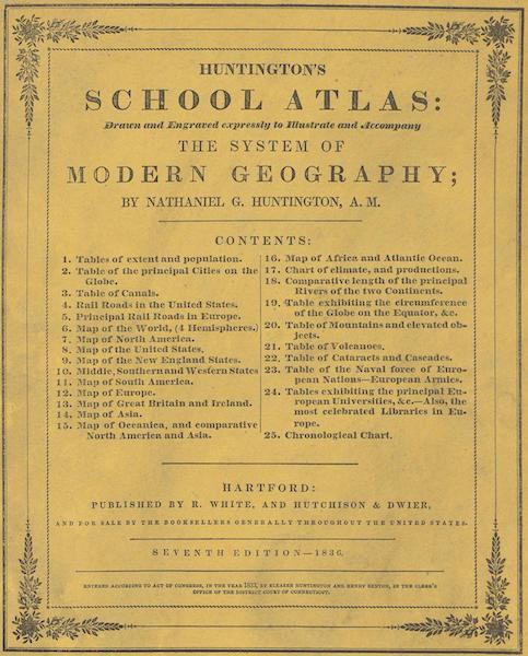 Huntington's School Atlas - Front Cover (1836)