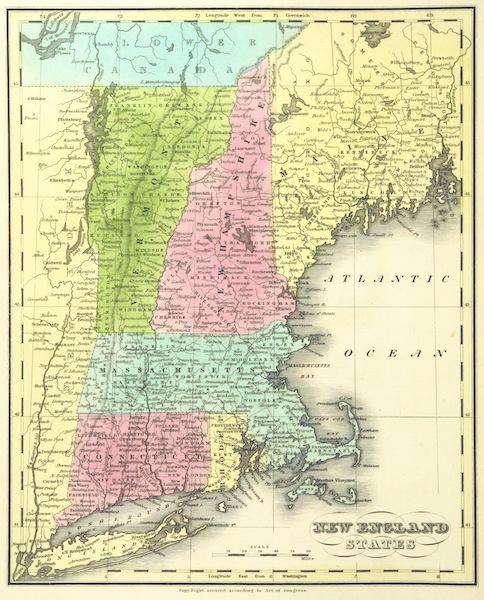 Huntington's School Atlas - New England States (1836)