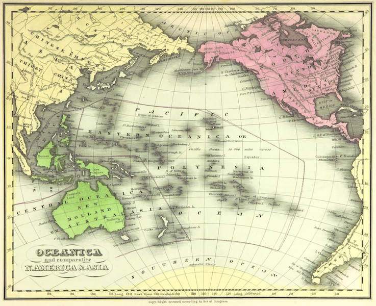 Huntington's School Atlas - Oceania and Comparative N. America and Asia (1836)