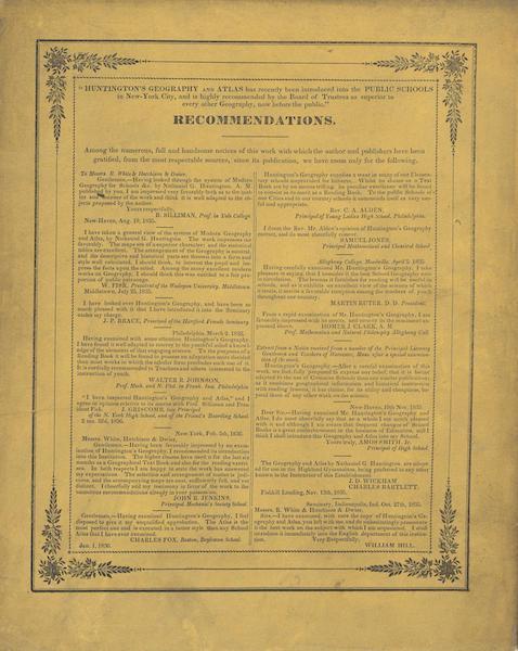 Huntington's School Atlas - Back Cover (1836)