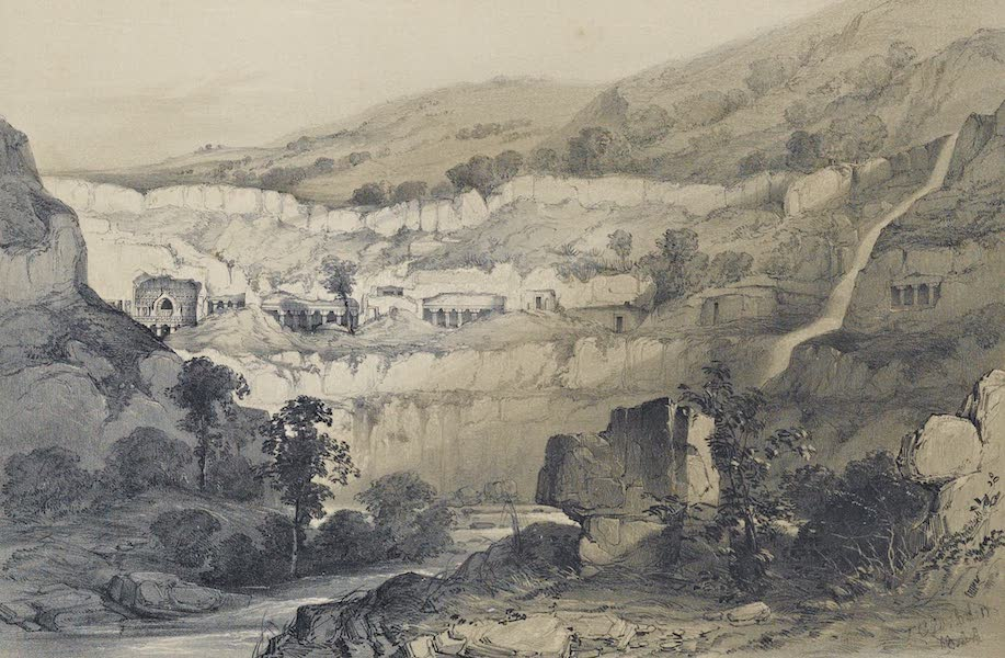 Illustrations of the Rock-Cut Temples of India [Atlas] - General View of Caves Comprising Caves No. 21 & 26 (1865)