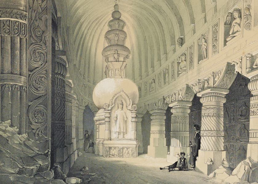 Illustrations of the Rock-Cut Temples of India [Atlas] - Interior of Chaitya Cave No. 19 (1865)