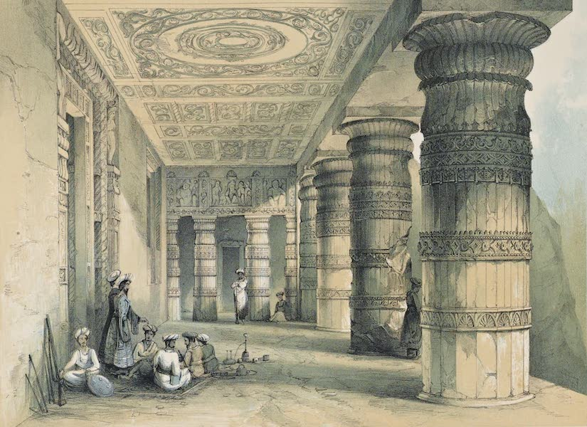 Illustrations of the Rock-Cut Temples of India [Atlas] - Verandah of Vihara No. 2 (1865)