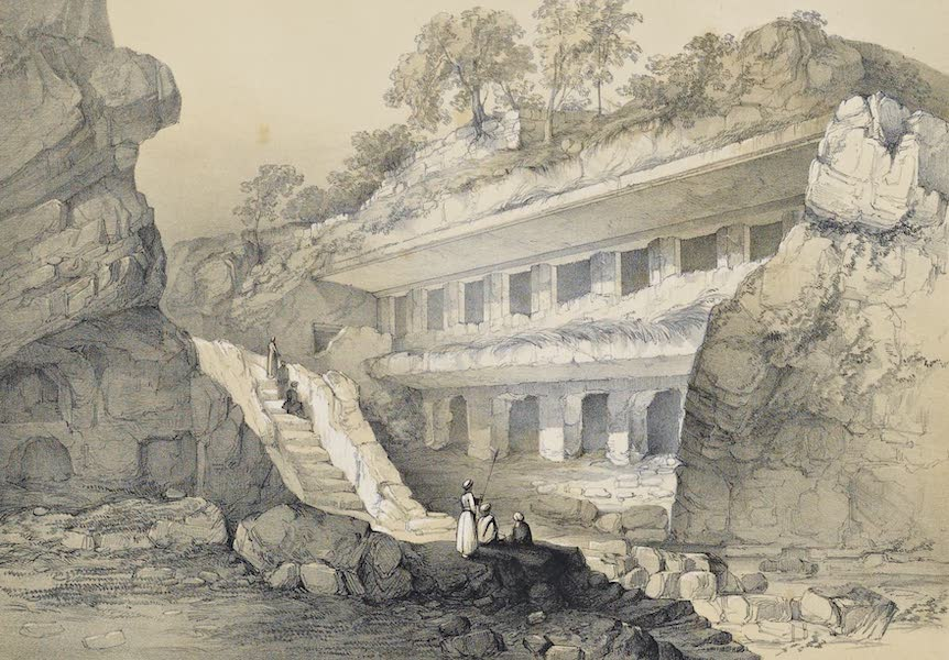 Illustrations of the Rock-Cut Temples of India [Atlas] - View of Durbar Cave (1865)