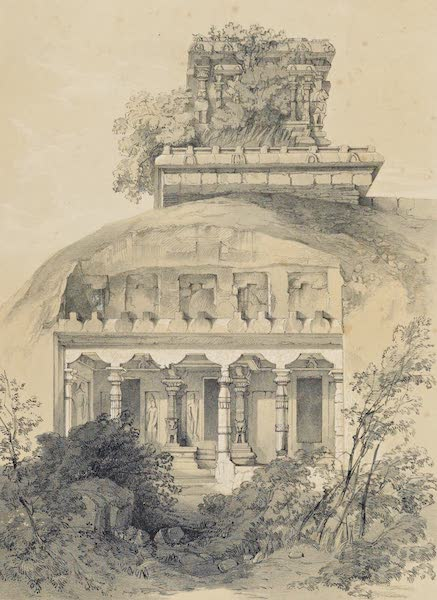 Illustrations of the Rock-Cut Temples of India [Atlas] - Cave with Structural Vimana (1865)