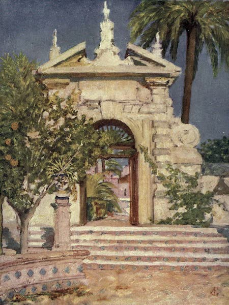 In the Track of Moors - A Gate in the Garden of the Alcazar, Seville (1905)
