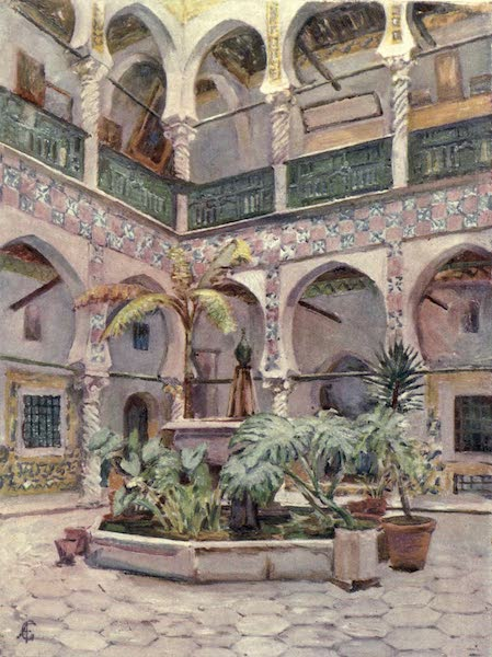 In the Track of Moors - Courtyard of the Bibliotheque Nationale, Algiers (1905)