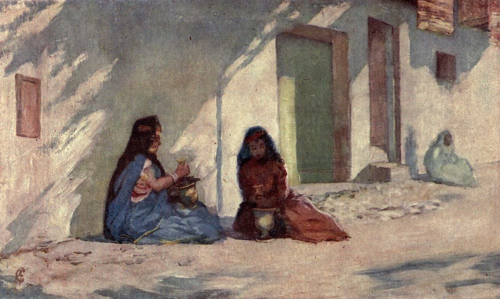 In the Track of Moors - Biskra - Aulad-nails Women Making Henna Wash (1905)